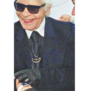 Karl Lagerfeld wearing Apple Watch