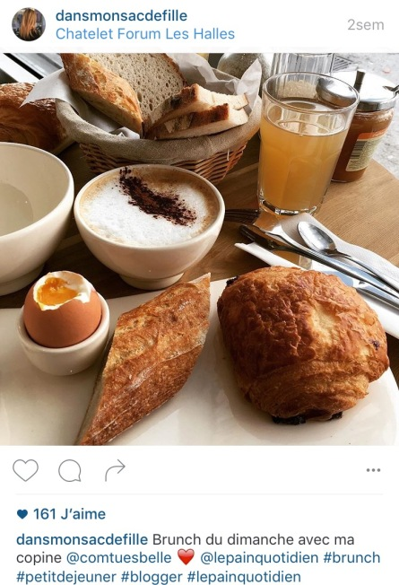 Instagram dans mon sac de fille blog beauté brunch pain quotidien