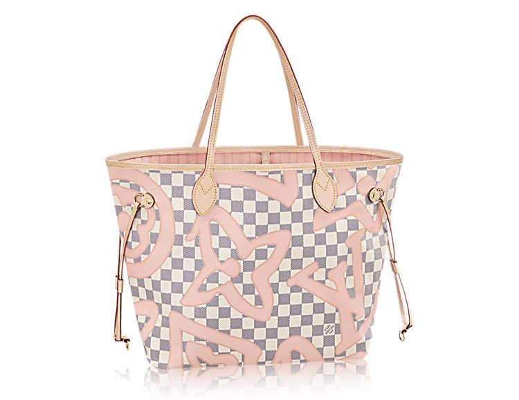 Louis Vuitton Sac à main Neverfull Damier Azur édition collector monogram archives rose